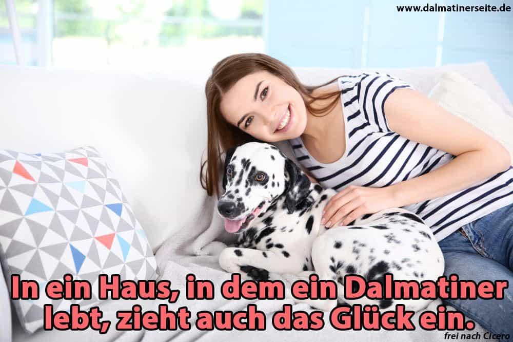 Eine Frau umarmt ihren Dalmatiner auf dem Sofa