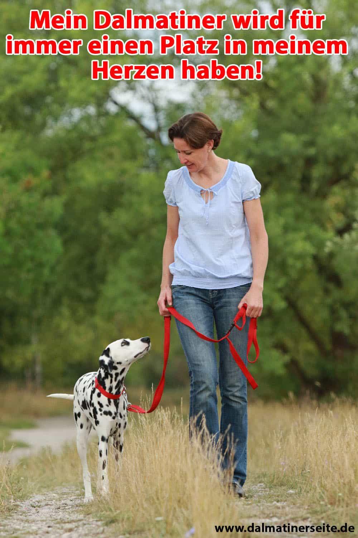 Eine Frau geht mit ihrem Dalmatiner